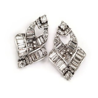 Sweet Romance Art Deco Vee Baguette Crystal Earrings