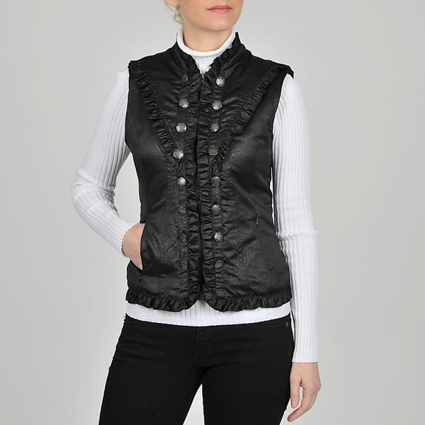 Montanaco Women's Black Nylon Ruffled Yoke Vest
