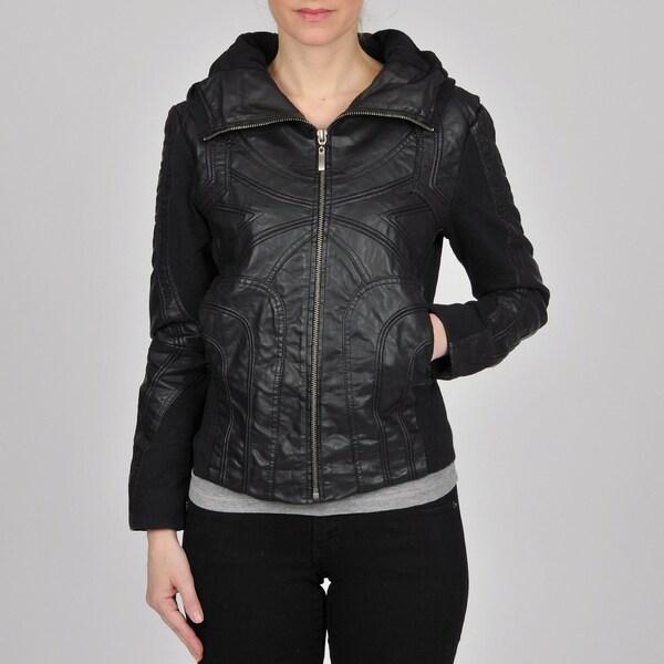 Montanaco Women's Black Faux Leather Jersey Knit Combo Jacket