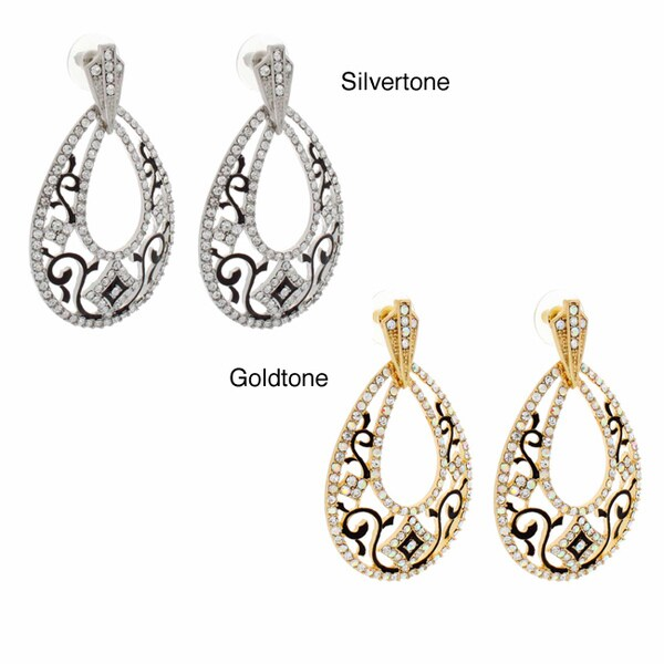 NEXTE Jewelry Goldtone Clear Rhinestone Teardrop Earrings