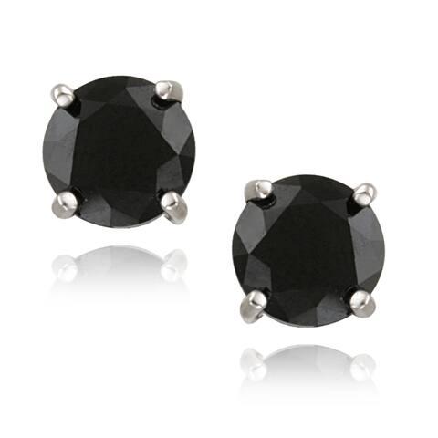 Glitzy Rocks Sterling Silver Round Black Spinel Stud Earrings