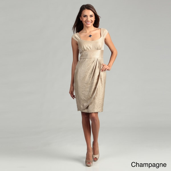 London Times Cap Sleeve Shimmer Dress
