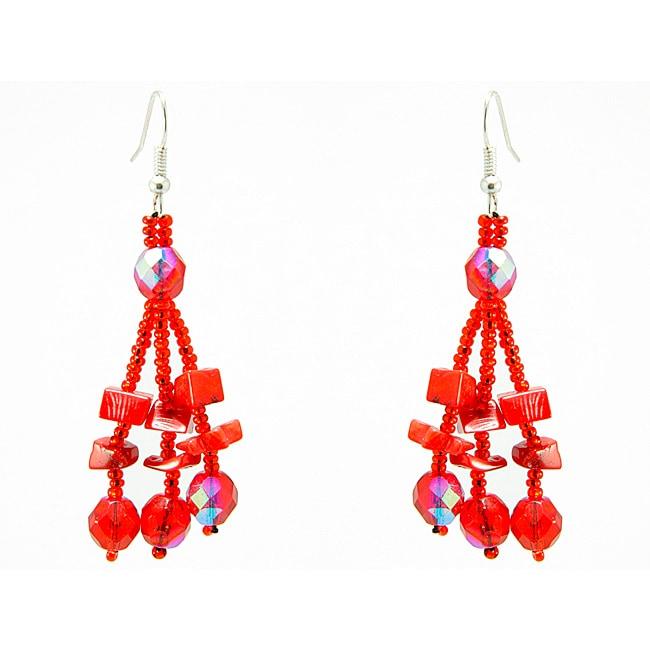 Luzy Red Handmade Earrings (Guatemala)