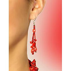 Luzy Red Handmade Earrings (Guatemala) - Thumbnail 1