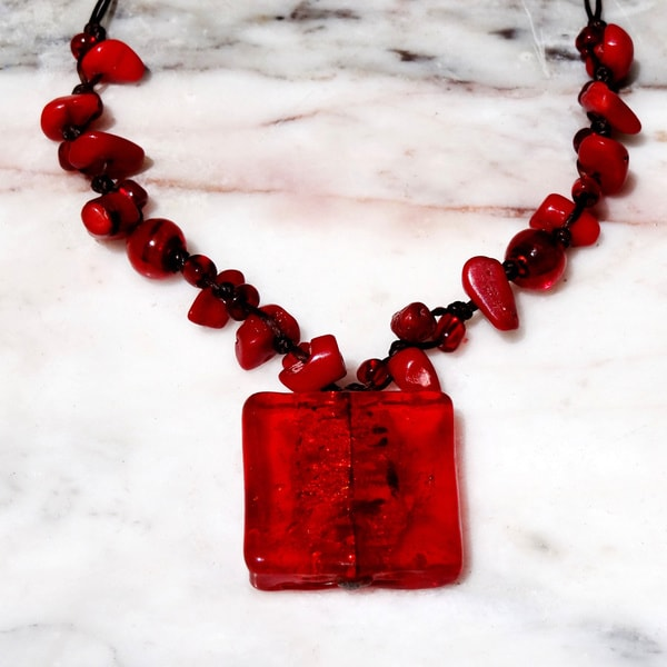 Italian Glass Bead Pendant Necklace Red (Thailand)