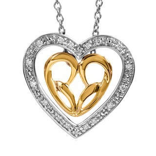 Bridal Symphony Sterling Silver in 10k Yellow Gold Diamond Accent Two-tone Heart Necklace (I-J, I2-I3)