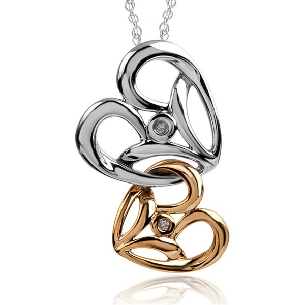 Bridal Symphony 10k Yellow Gold with Sterling Silver Diamond Two-tone Double Heart Necklace
