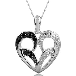 Bridal Symphony 10k White Gold Black and White Diamond Heart Necklace