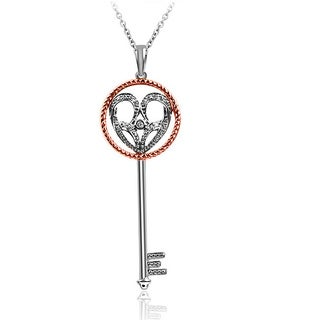 Bridal Symphony 10k Gold/Silver Diamond Two-Tone Heart Key Necklace