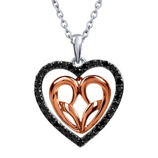 Bridal Symphony 10k Rose Gold and Sterling Silver 0.35CTtw Black Diamond Heart Necklace