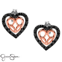Bridal Symphony 10k Pink Gold with Sterling Silver 0.36CTtw Black Diamond Heart Earring