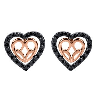 Sterling Silver with 10k Rose Gold 1/3CTtw Jessica Simpson Black Diamond Earrings