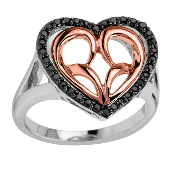 Sterling Silver with 10k Rose Gold 1/3CTtw Black Diamond Heart Ring