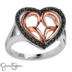 Bridal Symphony 10k Rose Gold/Silver 1/3ct TDW Black Diamond Heart Ring