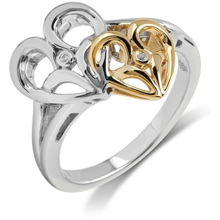 Bridal Symphony Two-tone Sterling Silver with 10k Yellow Gold 0.01CTtw Diamond Accent Heart Ring (I-J, I2-I3)