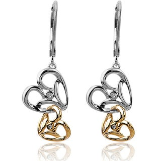 Bridal Symphony Two-tone Sterling Silver with 10k Gold Dangle Heart 0.02ct Diamond Accent Earrings (I-J, I2-I3)