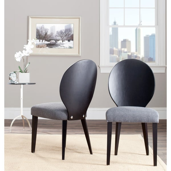 Safavieh Metropolitan Dining Chic Oval Grey/ Black Dining Chairs (Set of 2)