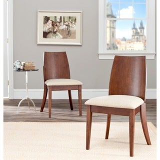 Safavieh Metropolitan Dining Chic Beige Walnut Finish Dining Chairs (Set of 2)
