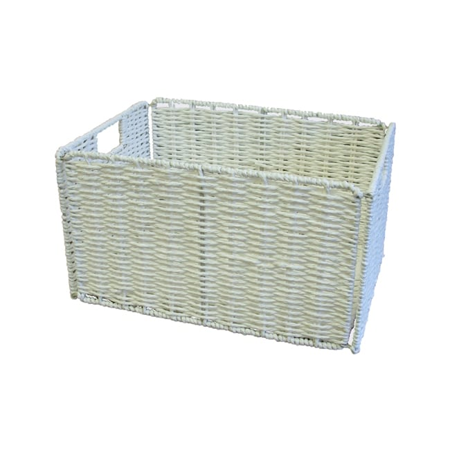 Woven Knock-down White Rectangular Storage Baskets (Set of 6) - Thumbnail 0