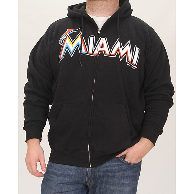 Stitches Men's Miami Marlins Full Zip Hoodie