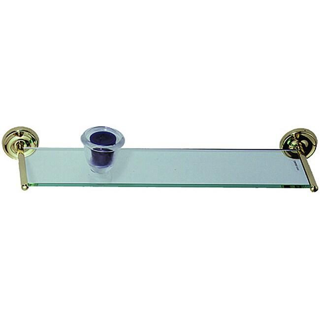 Elizabethan Classics Polished Brass Glass Vanity Shelf