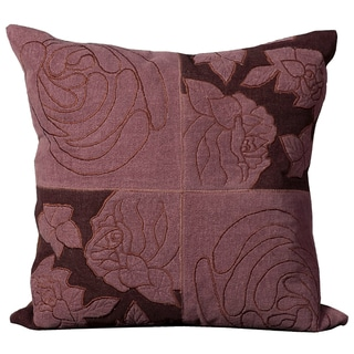 Mina Victory Natural Leather and Hide Floral Patchwork Violet Throw Pillow (20-inch x 20-inch) by Nourison