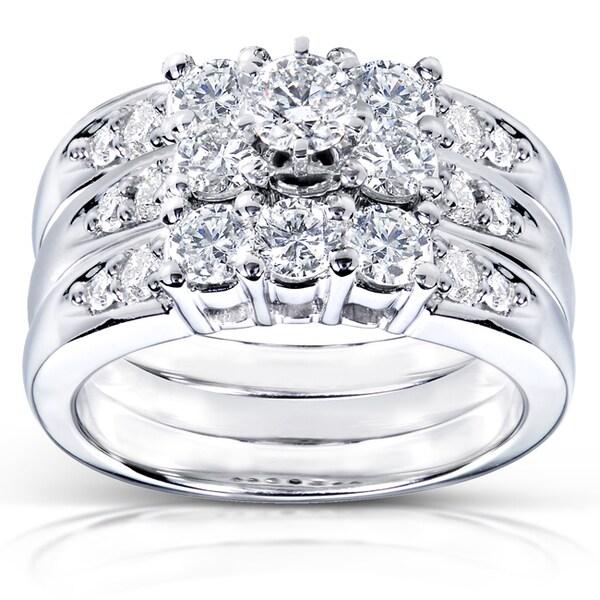 Annello by Kobelli 14k White Gold 1 2/5ct TDW Diamond 3-piece Bridal Ring Set (H-I, I1-I2
