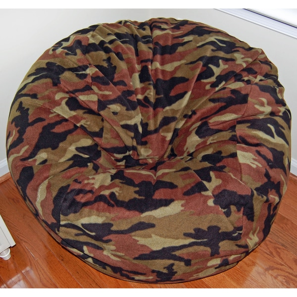 Ahh Products Woodland Camouflage Fleece Washable Bean Bag Chair