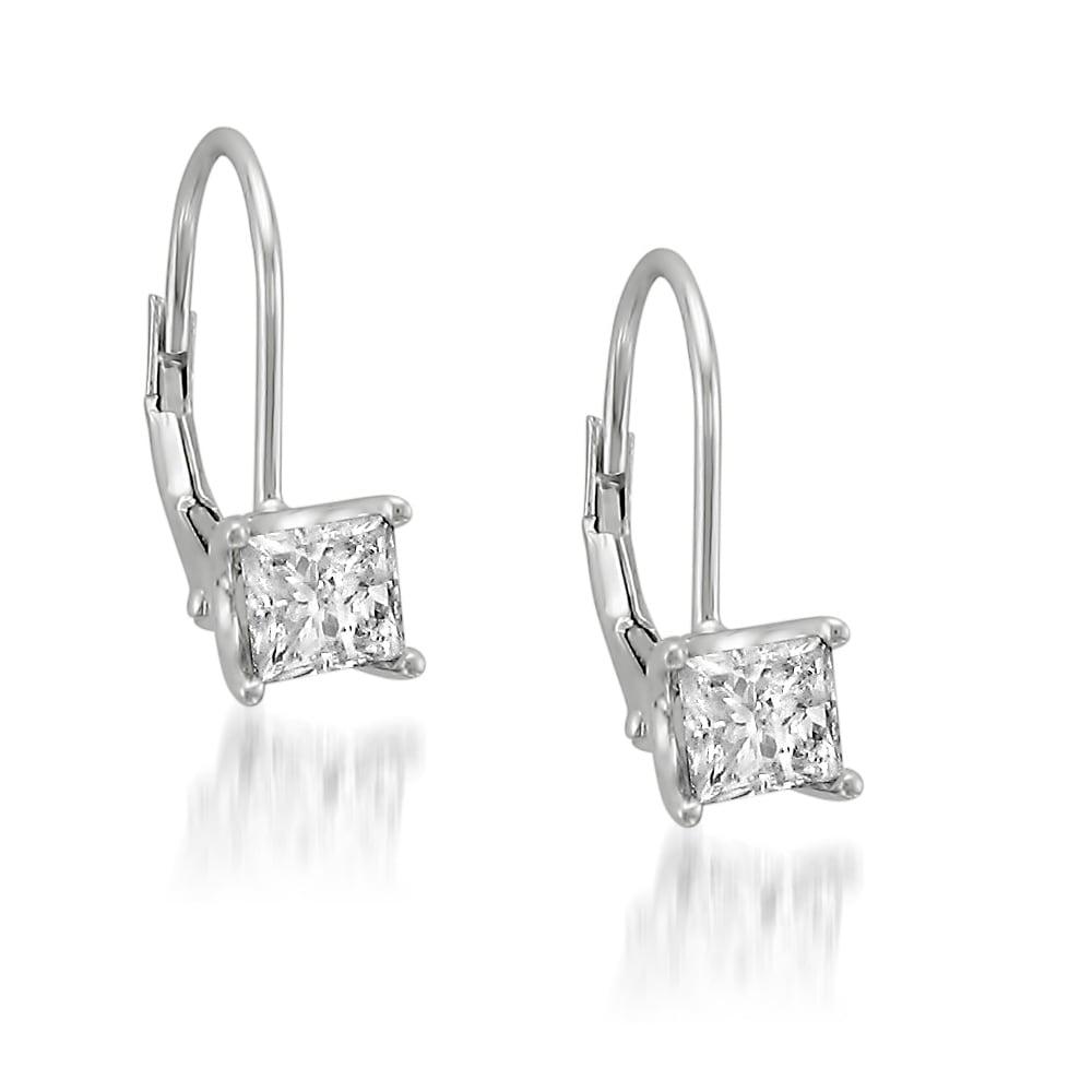Montebello 14k White Gold 1ct Tdw Princess Diamond Leverback Earrings