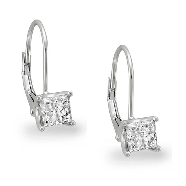 Montebello 14k White Gold 3/4ct TDW Princess Diamond Leverback Earrings (I-J, SI2)