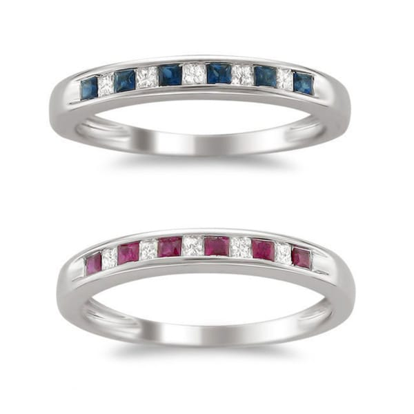 Montebello 14k White Gold, Gemstone (Ruby or Sapphire), and Diamond Accent Wedding Band