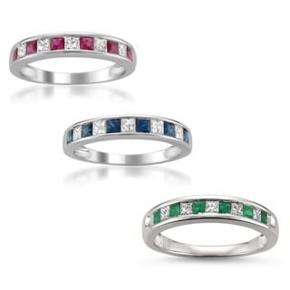 Montebello 14k White Gold Ruby, Emerald or Sapphire and 1/10ct TDW Diamond Accent Wedding Band (H-I, I1-I2)