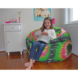 Ahh Products Pink and Green Tie Dye Cotton Washable Bean Bag Chair