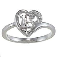 Sterling Essentials Sterling Silver Cubic Zirconia Quinceanera 15 Ring