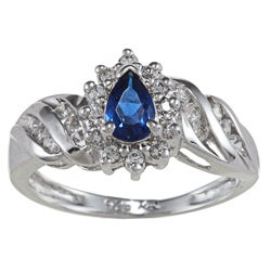 Sterling Essentials Silver Pear-cut Blue and Clear Cubic Zirconia Ring