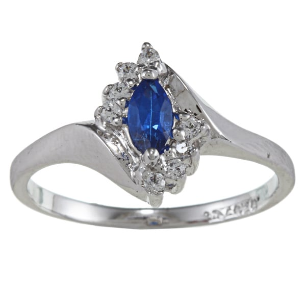 Sterling Essentials Silver Marquise-cut Blue Cubic Zirconia Ring