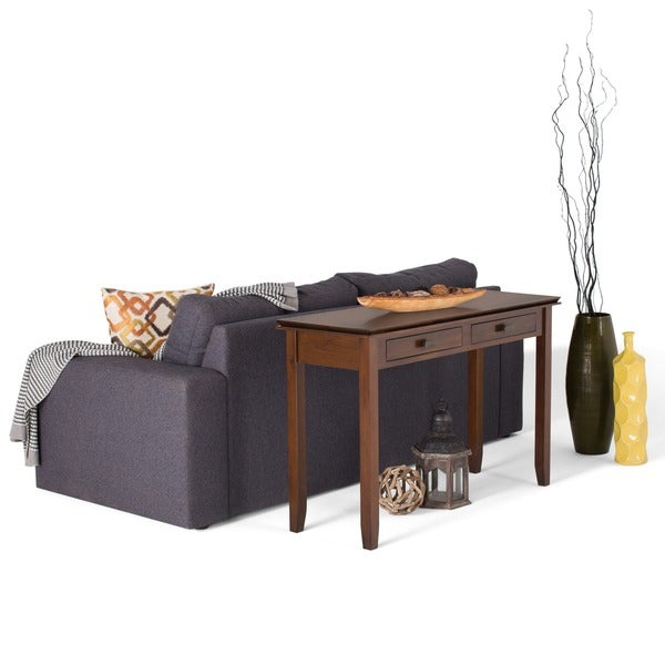 Wyndenhall stratford auburn brown console sofa table for Stratford home pillows living room furniture