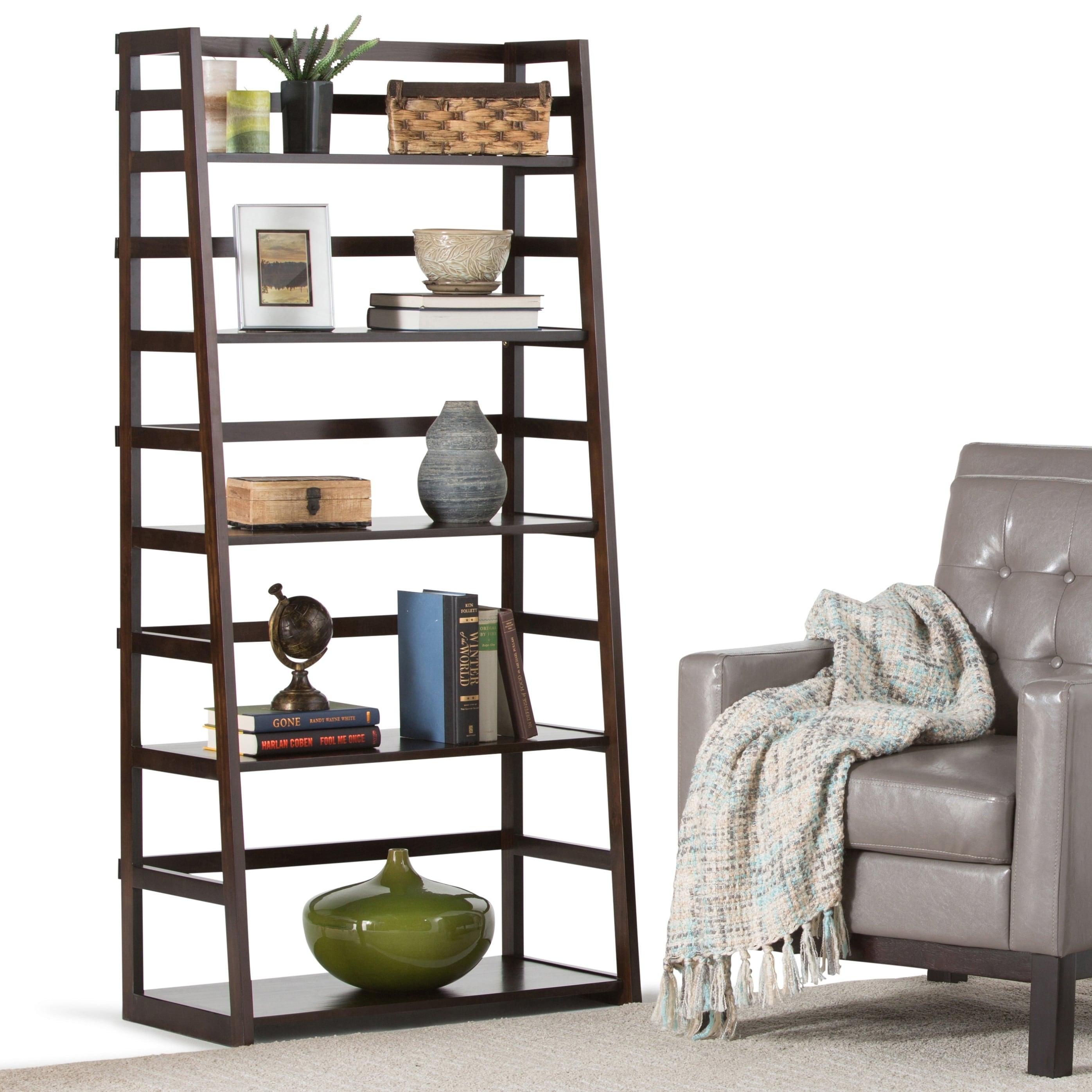 Wyndenhall Normandy Solid Wood 63 Inch X 30 Inch Rustic Ladder Shelf Bookcase 30 W X 15 9 D X 63 H