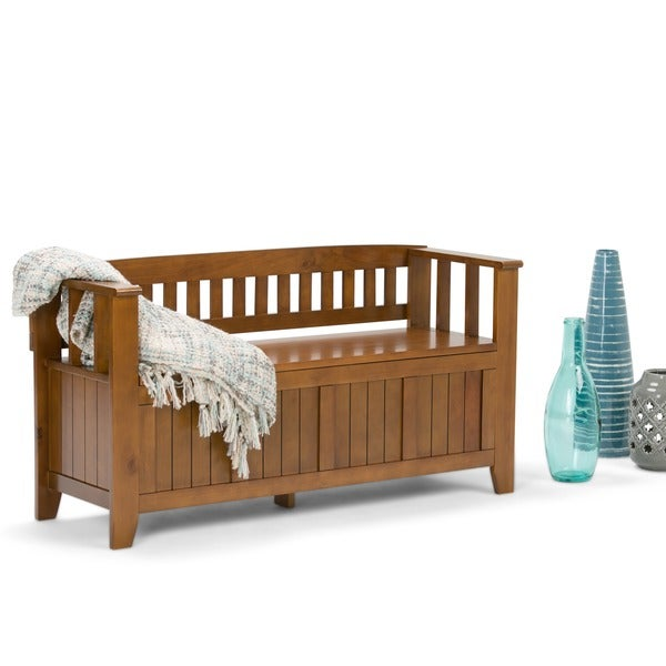 WyndenHall Normandy Lacquered Pine Wood Entryway Storage Bench