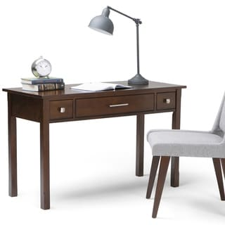 WYNDENHALL Franklin Solid Wood Contemporary 47 inch Wide Writing Office Desk in Dark Tobacco Brown