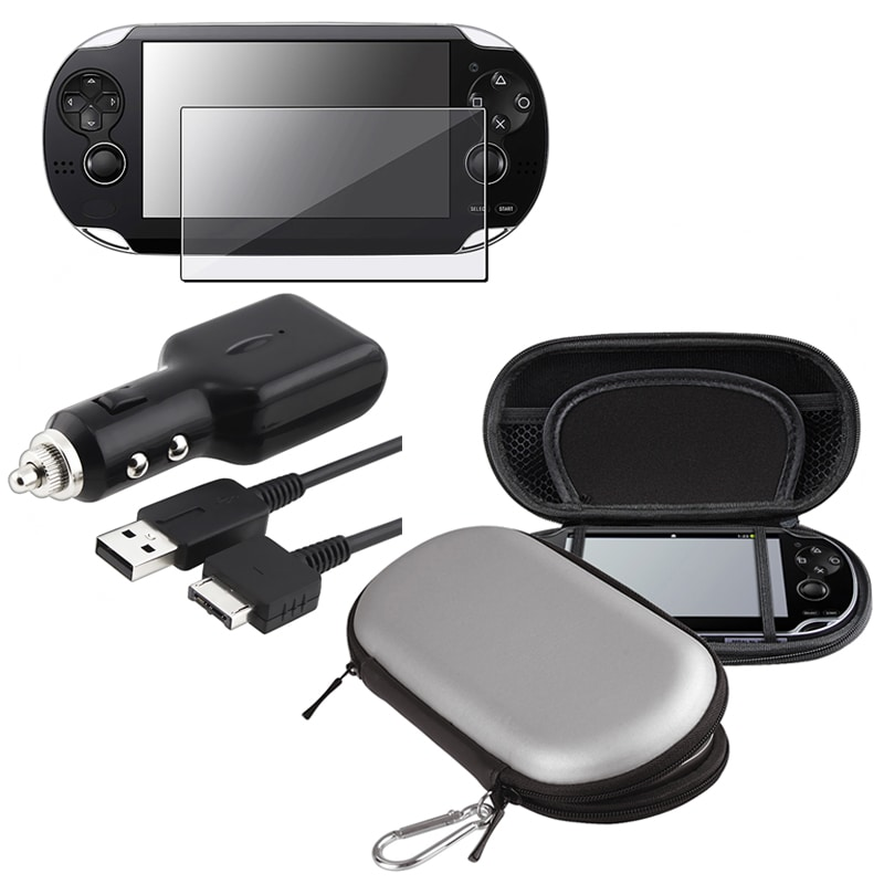 INSTEN Car Charger/ LCD Protector/ Silver Eva Case Cover for Sony Playstation Vita