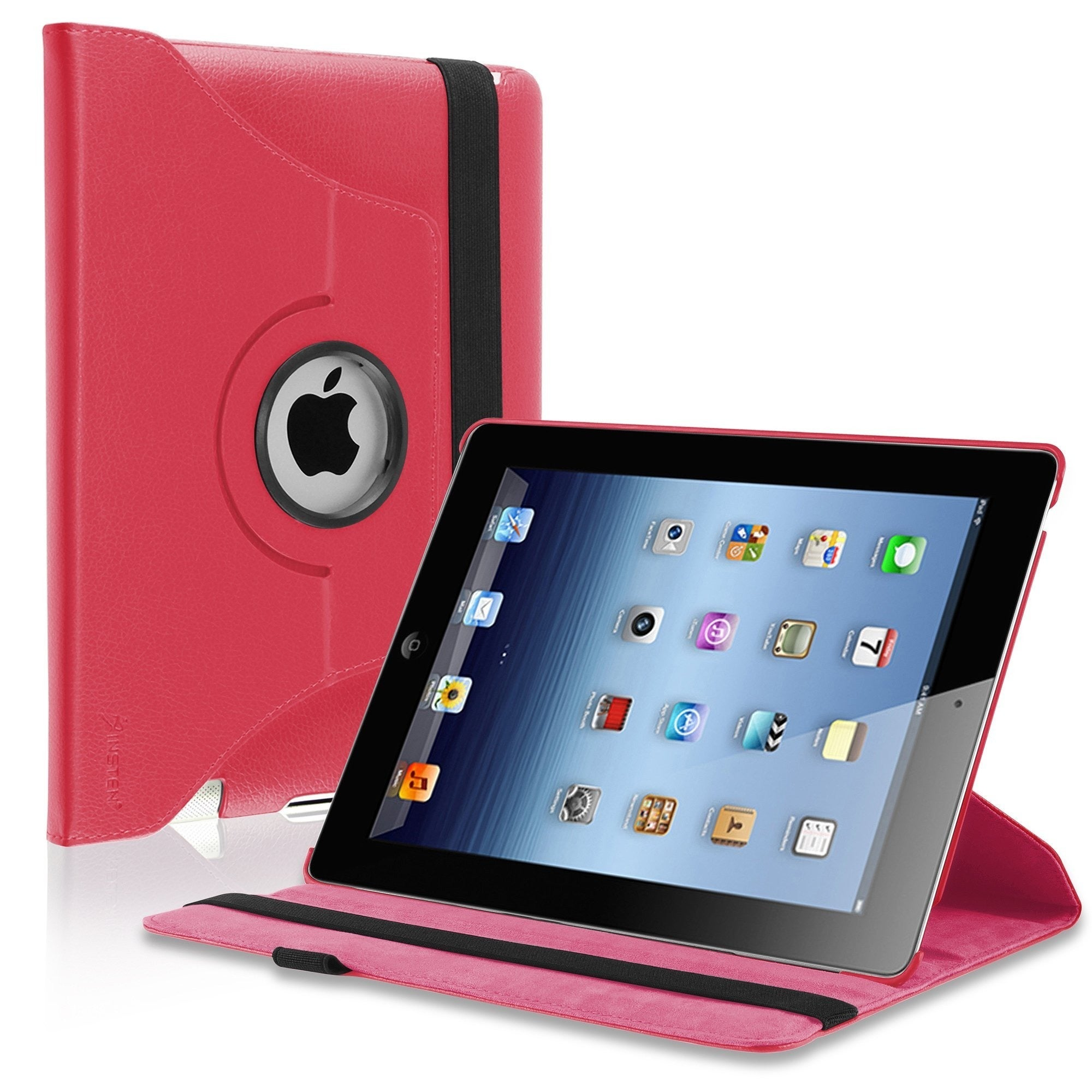 Insten Leather Folio Flip Tablet Case with Swivel Stand f...