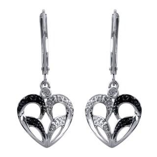Bridal Symphony 10k White Gold Black and White Diamond Heart Earring