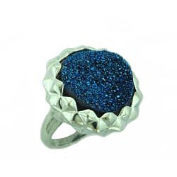 Sterling Silver Colored Druzy Ring - Thumbnail 1