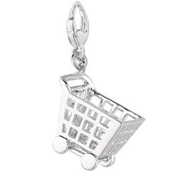 Sterling Silver Shopping Cart Charm