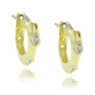 Molly and Emma 18k Gold Overlay Children's Cubic Zirconia Hoop Earrings