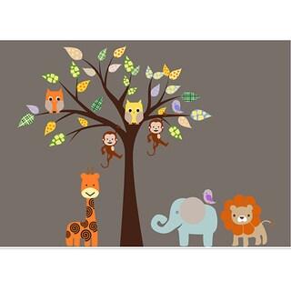 Nursery Wall Art Safari Animal Tree Wall Decal Set