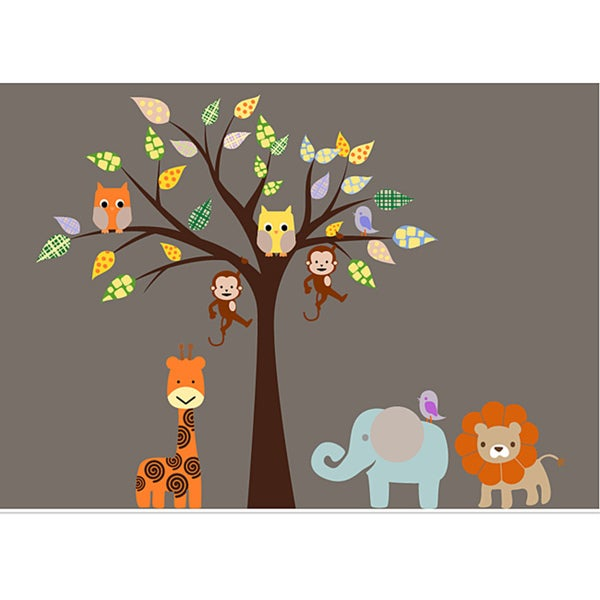 Nursery Wall Art Safari Animal Tree Wall Decal Set