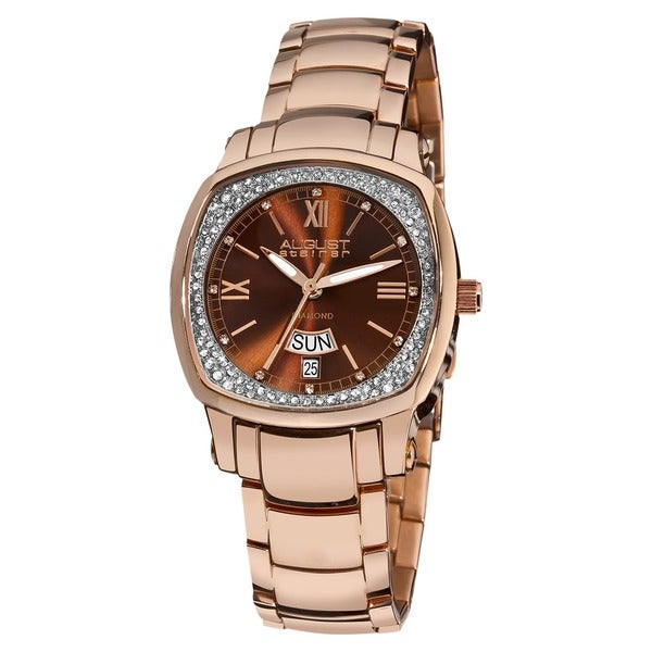 August Steiner Women's Rose Goldtone Stainless Steel Day Date Diamond Watch