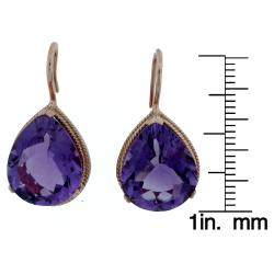 Meredith Leigh Pink-plated Silver Amethyst Pear-shaped Earrings